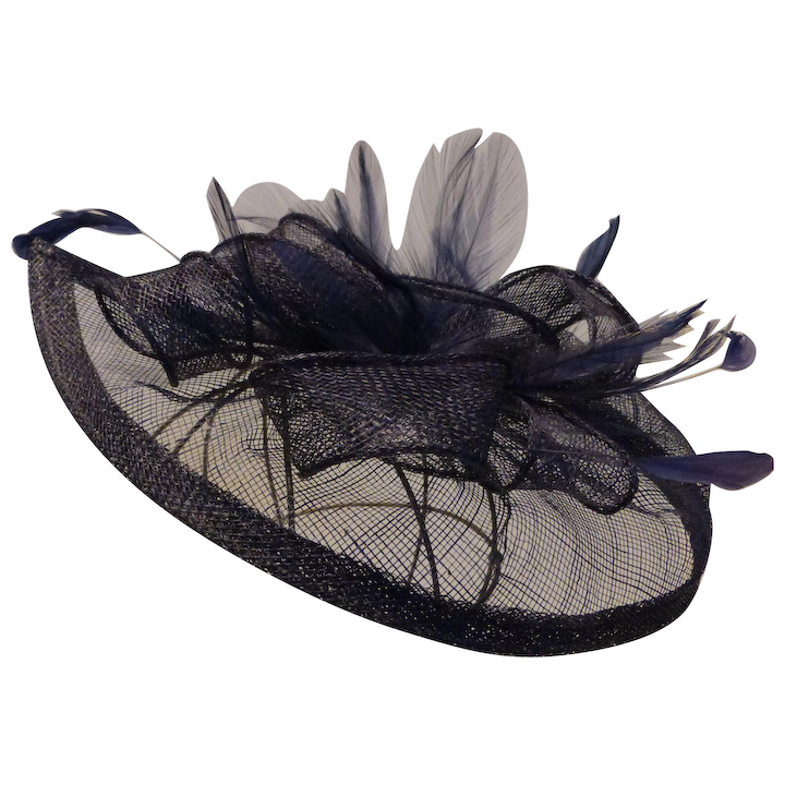Fascinator Hat Sinamay Netting & Ribbons with Feathers Navy Blue.