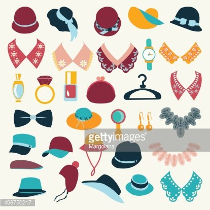 Icon Set vector of fashion accessories.