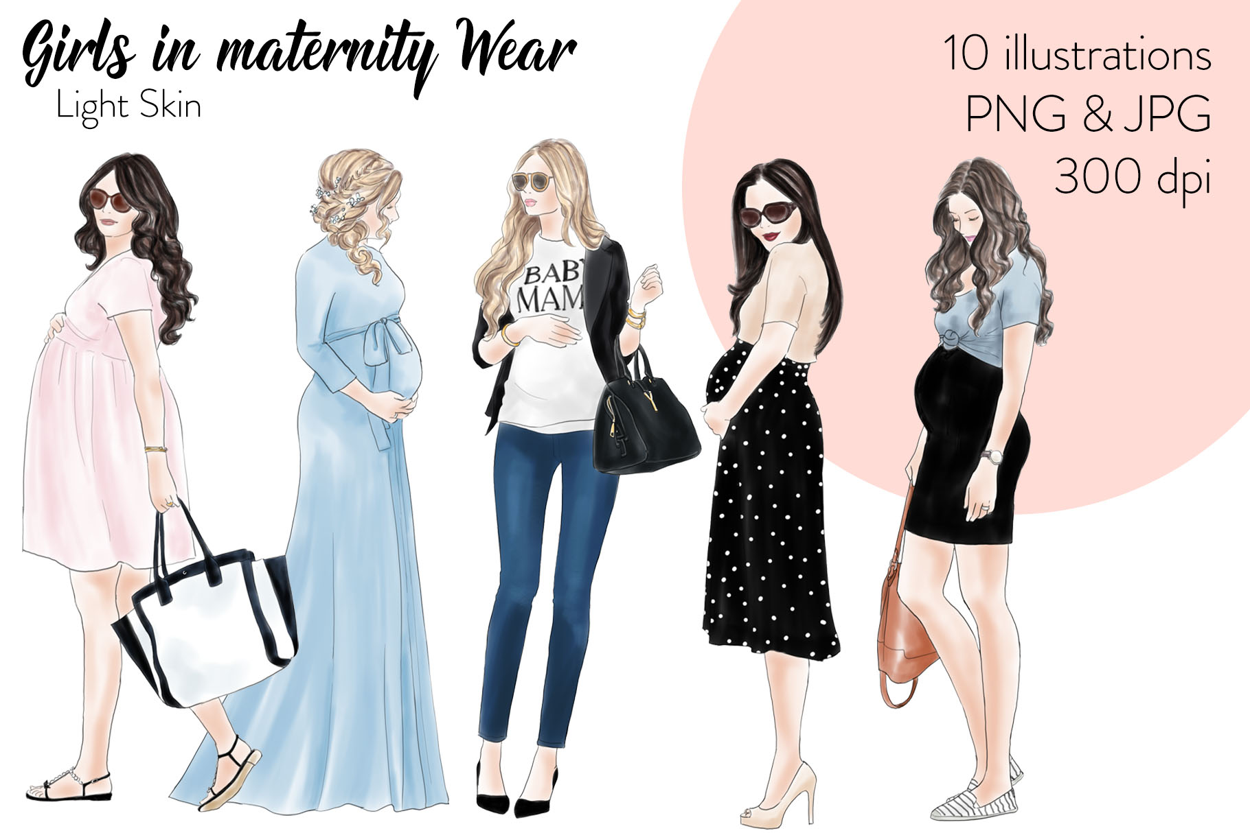 Fashion illustration clipart.