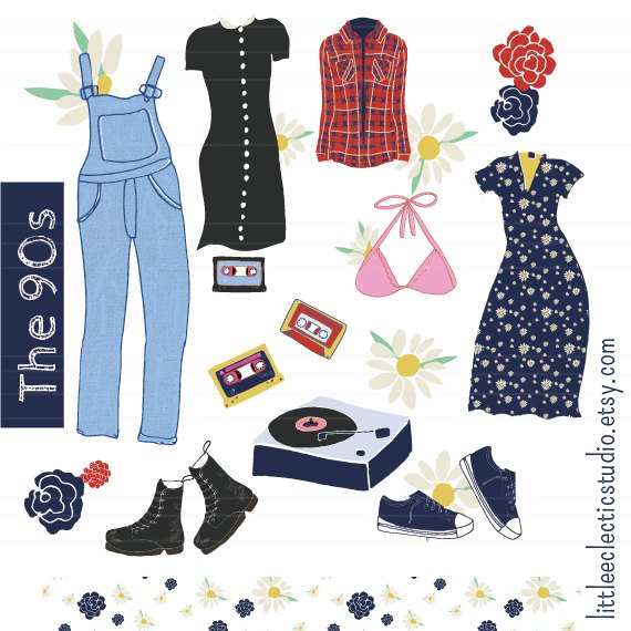 Fashion clipart, 90s clothing, fashion illustration clipart.