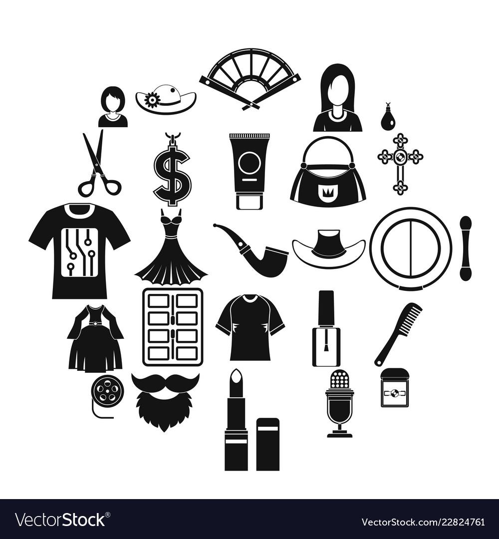 Fashion designer icons set simple style.