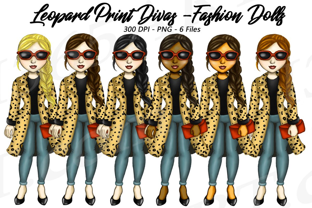 Leopard Print Divas Clipart, Fashion Girls Illustrations, PN.