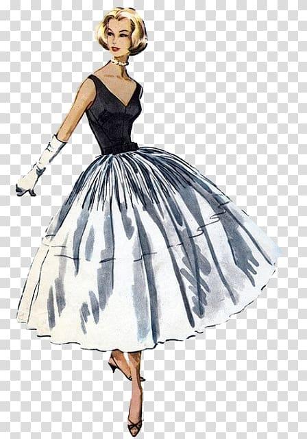 Fashion Dress Vintage clothing Pattern, woman fashion illustration.