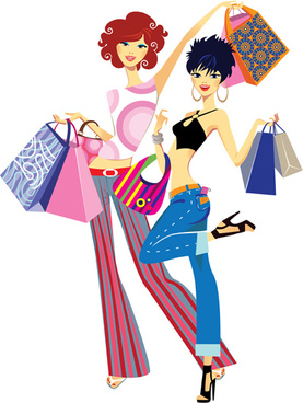 Fashion shopping girls clip art free vector download.