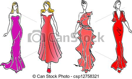 Vector Illustration of Womens in evening dresses for fashion.