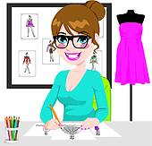 Clipart of Fashion Designer And Assistant k20306285.