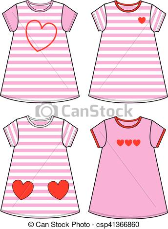 Clip Art Vector of children fashion industry.