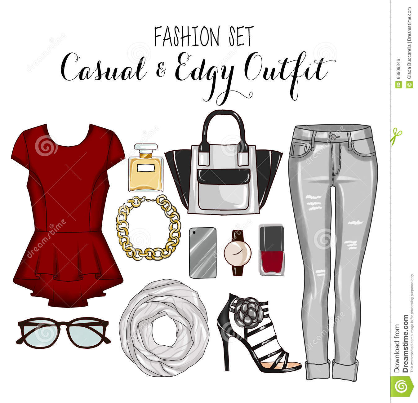 Fashion Set Of Woman's Clothes, Accessories, And Shoes Clip Art.