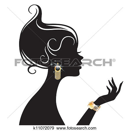 Clipart of sketch of girl's head with earring, fashion.