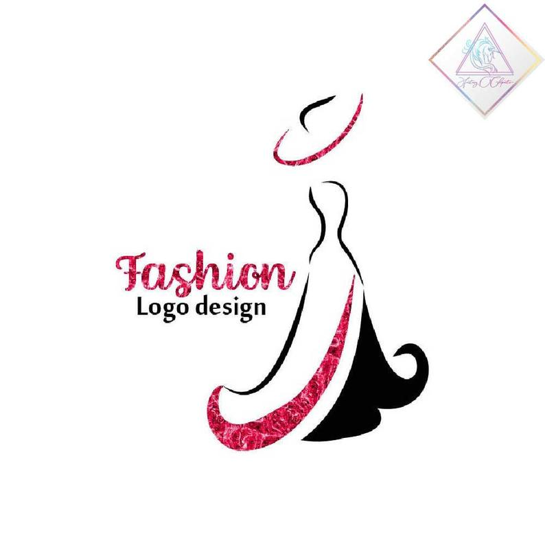 Premade fashion logo design in png and pdf format, woman in elegant dress,  minimalist logotype.