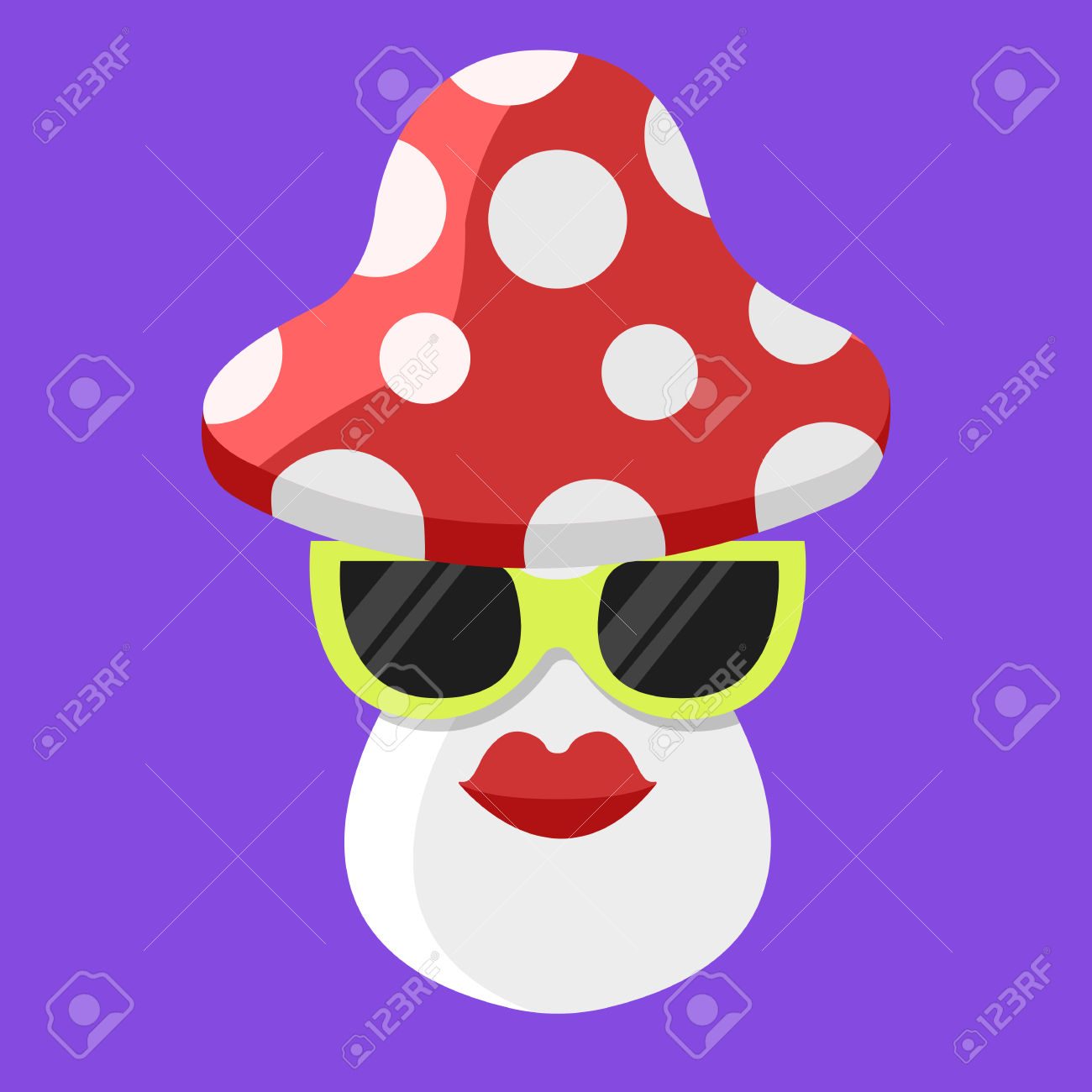 Vector Amanita Mushroom Cartoon. Mushroom With Glasses. Amanita.
