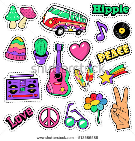 Fashion Hippie Badges Patches Stickers Van Stock Vector 512586589.