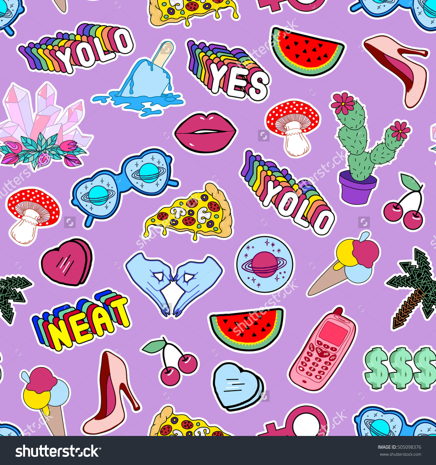 Seamless pattern with fashion patch badges with lollipops, shoes.