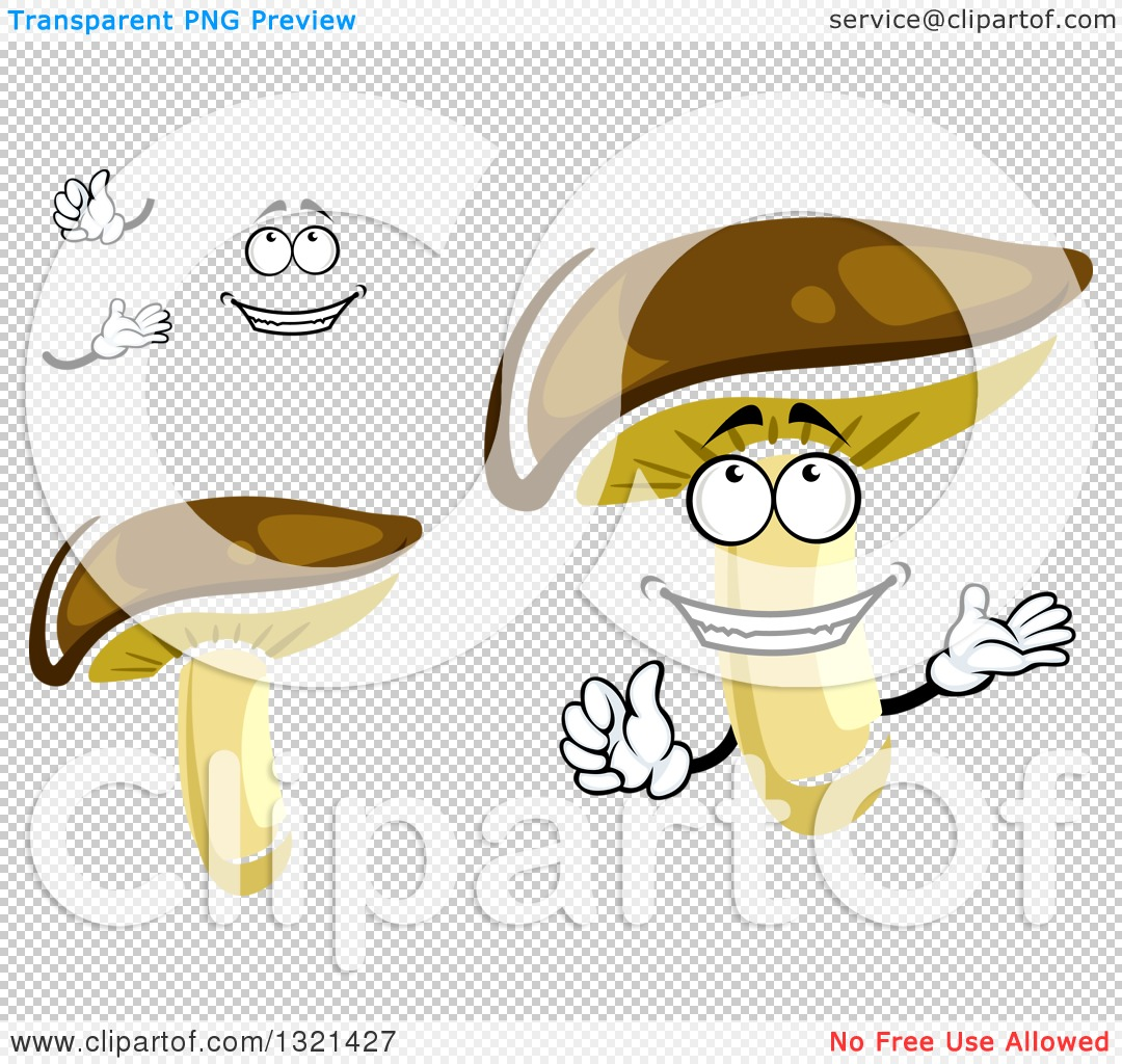 Clipart of a Cartoon Face, Hands and Shiitake Mushrooms.