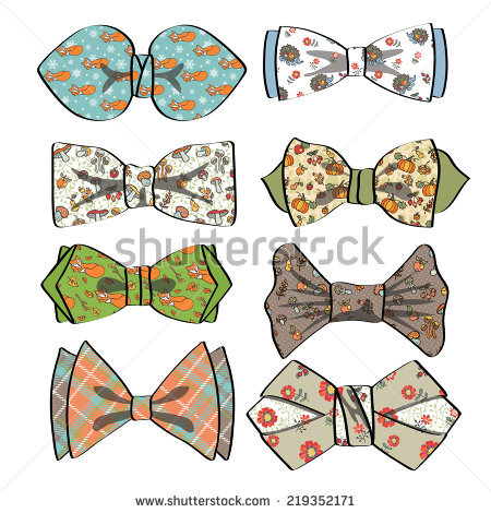 Set Of Colored Bow Tie With Different Pattern.Autumn Fruits.