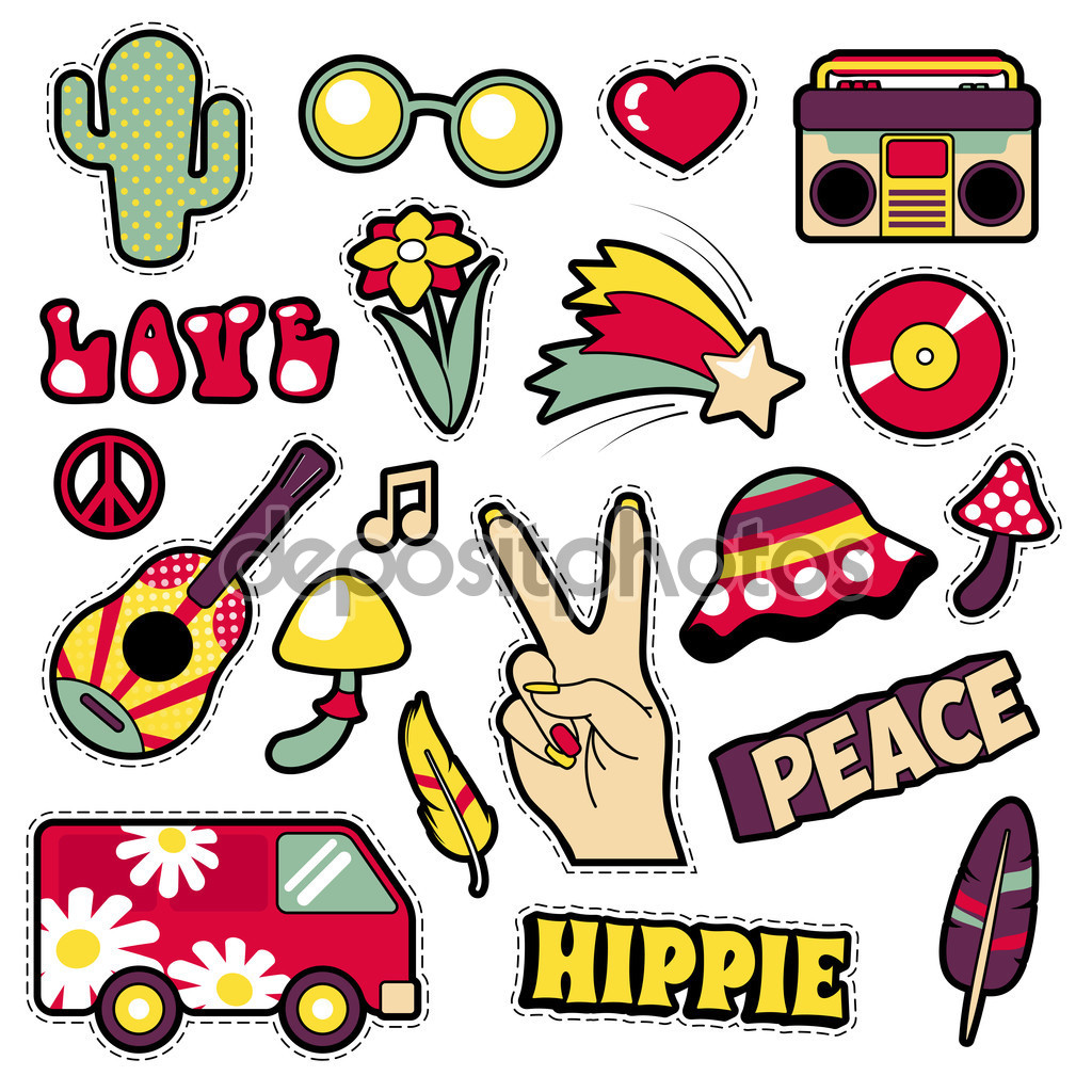 Fashion Hippie Badges, Patches, Stickers.