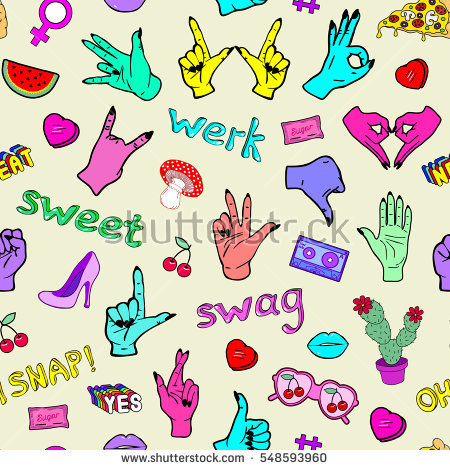 Fashion Patch Badges Lips Hearts Speech Stock Vector 472993888.
