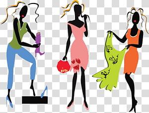 Group of women wearing dresses illustration, fashion model fashion.