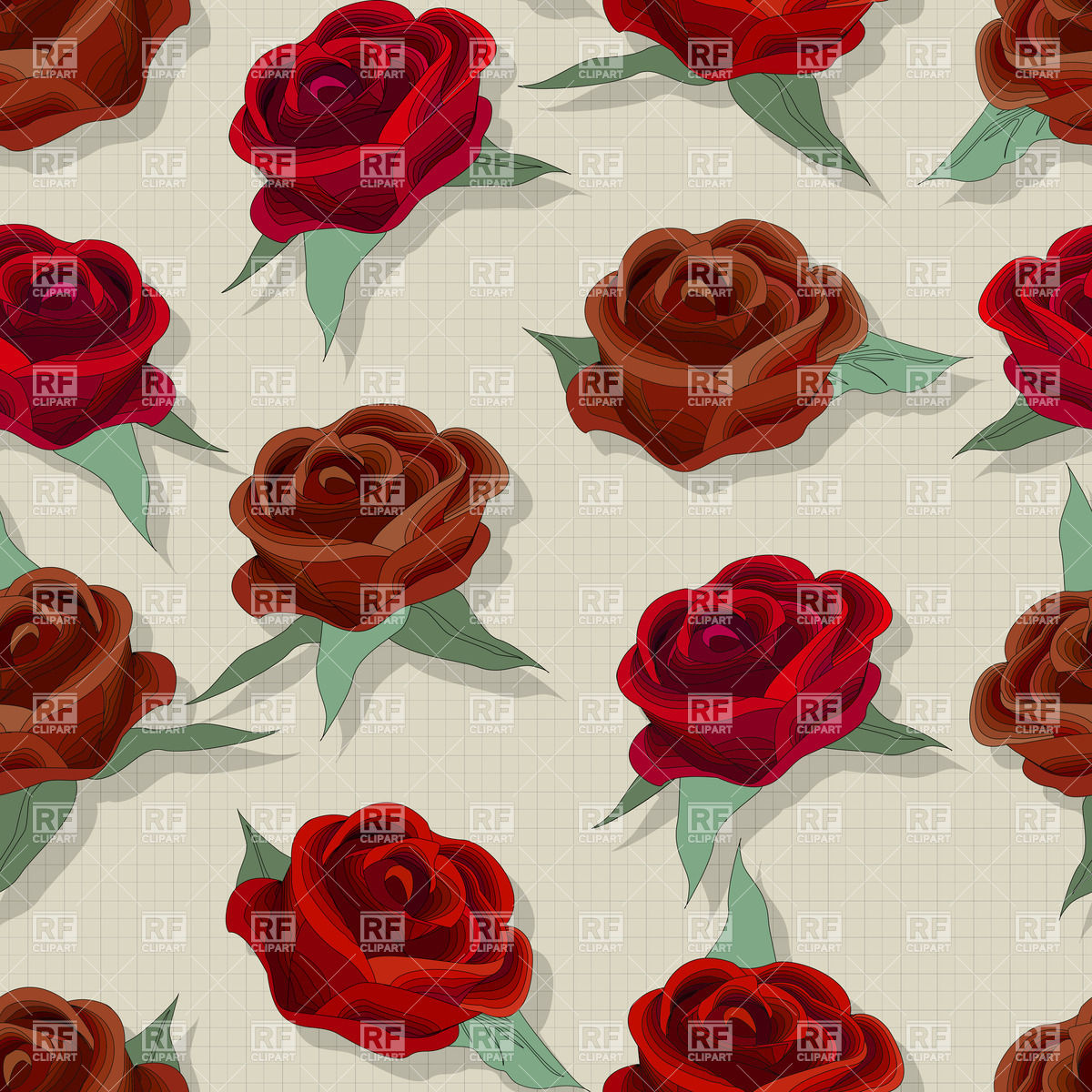 Seamless retro style rose pattern for fashion design Vector Image.