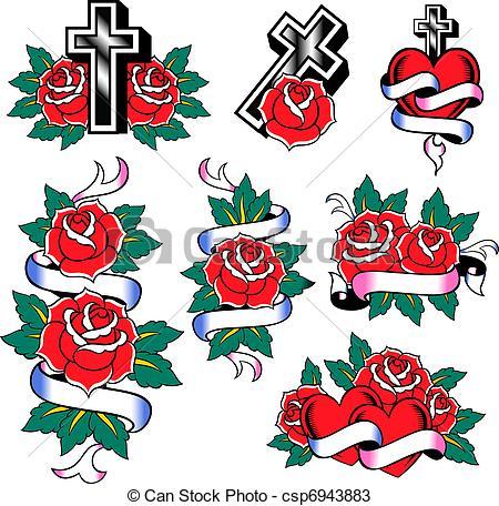 Drawings of fashion rose tattoo set csp6943883.