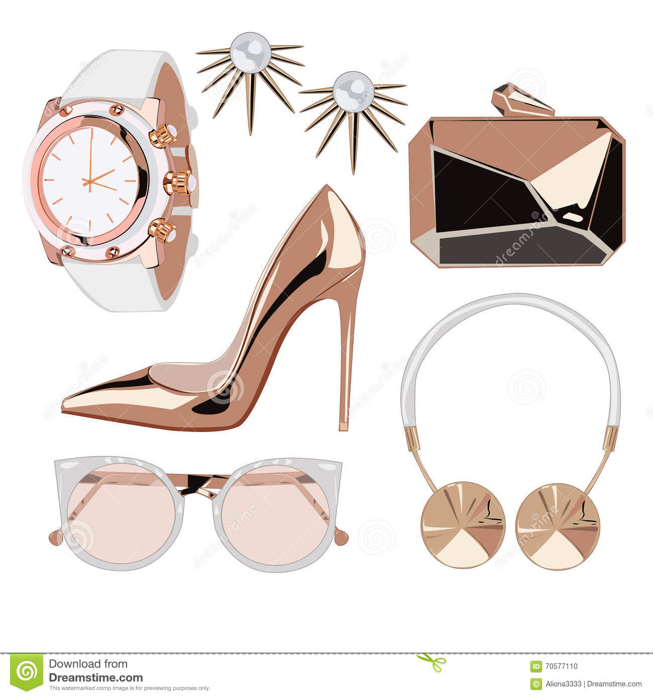 Golden Rose Fashion Accessories Stock Vector.