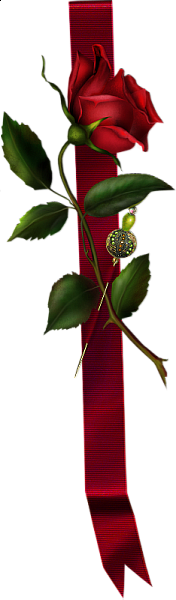 Red Ribbon with Red Rose Clipart.