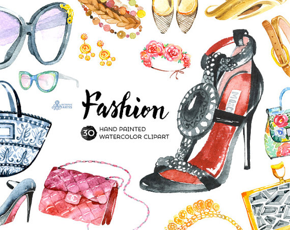 Fashion Watercolor Clipart. 30 Hand painted elements, shoes.