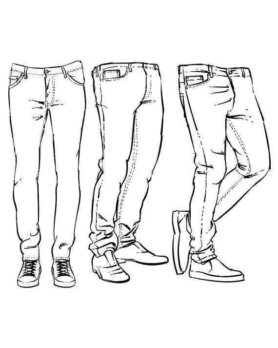 Hand drawn fashion design men's jeans outline. clipart.