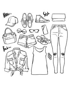 fashion Collection of women outline (EPS, JPG) clipart commercial.