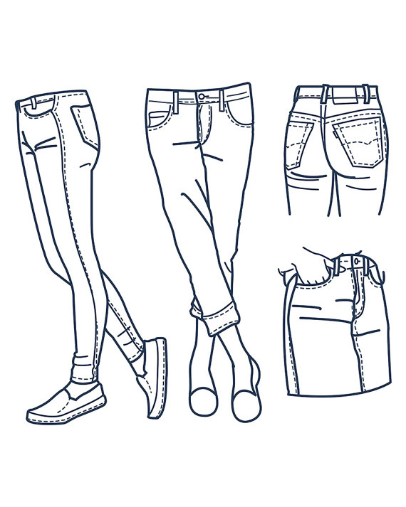 Hand drawn fashion Collection of girl's jeans outline. clipart.