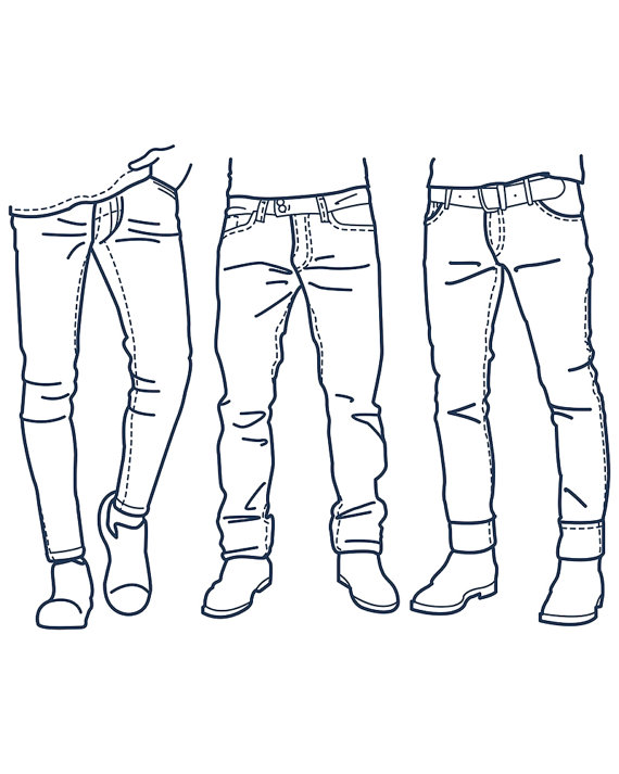 Fashion Collection of men's jeans outline. clipart commercial use.