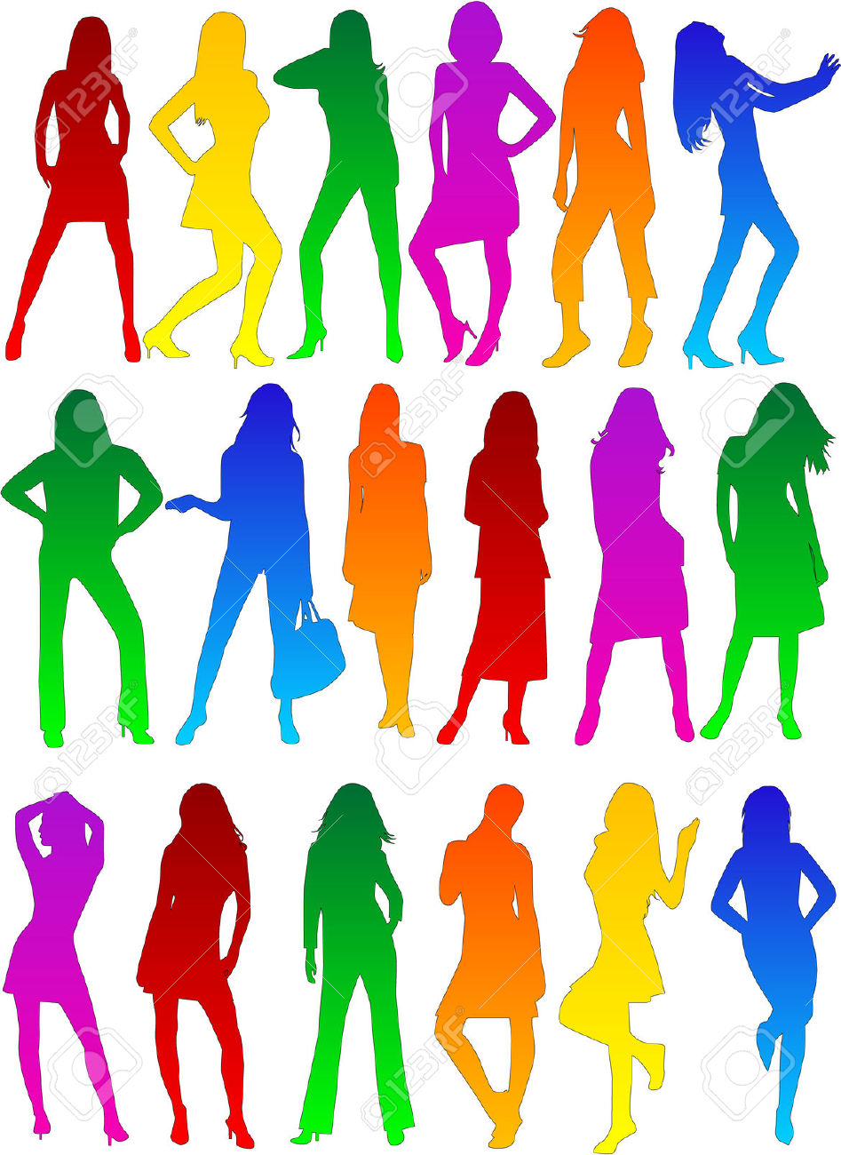 Lady's Profiles Fashion Show , Vectors Work Royalty Free Cliparts.