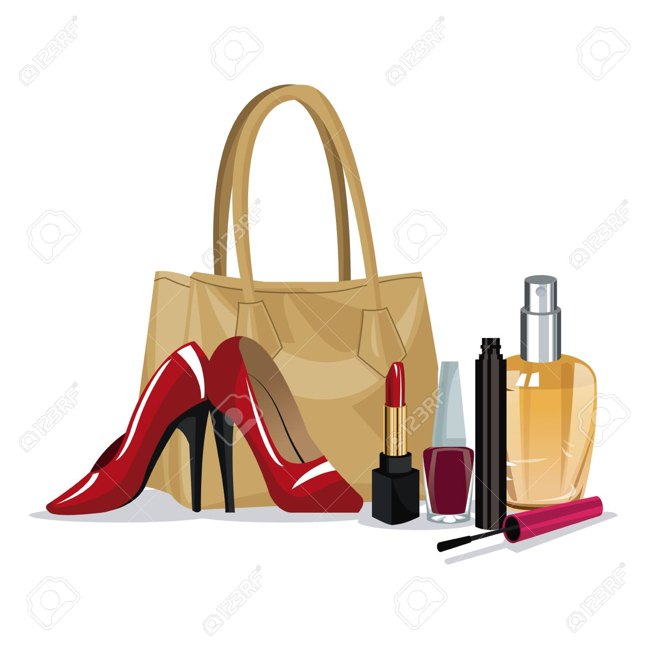 set beauty makeup cosmetic accesory wo fashion vector illustration.