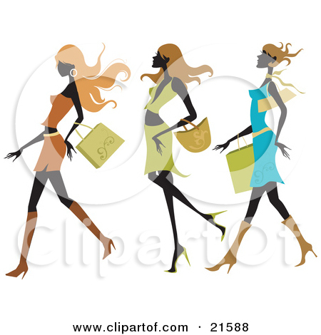 Clipart Trio Of Silhouetted Fashionable Ladies Shopping.