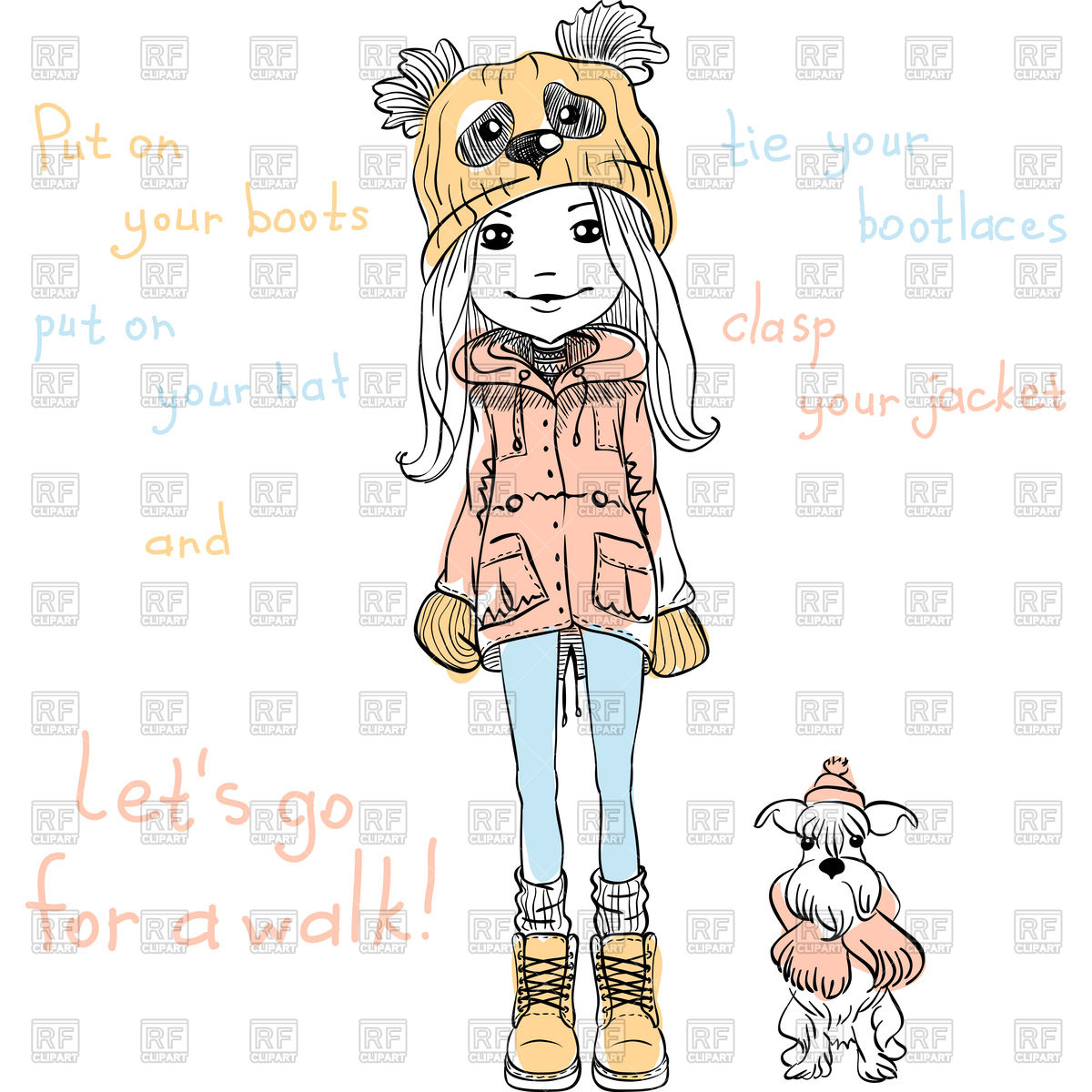 Cute beautiful fashionable girl in funny hat with dog Vector Image.