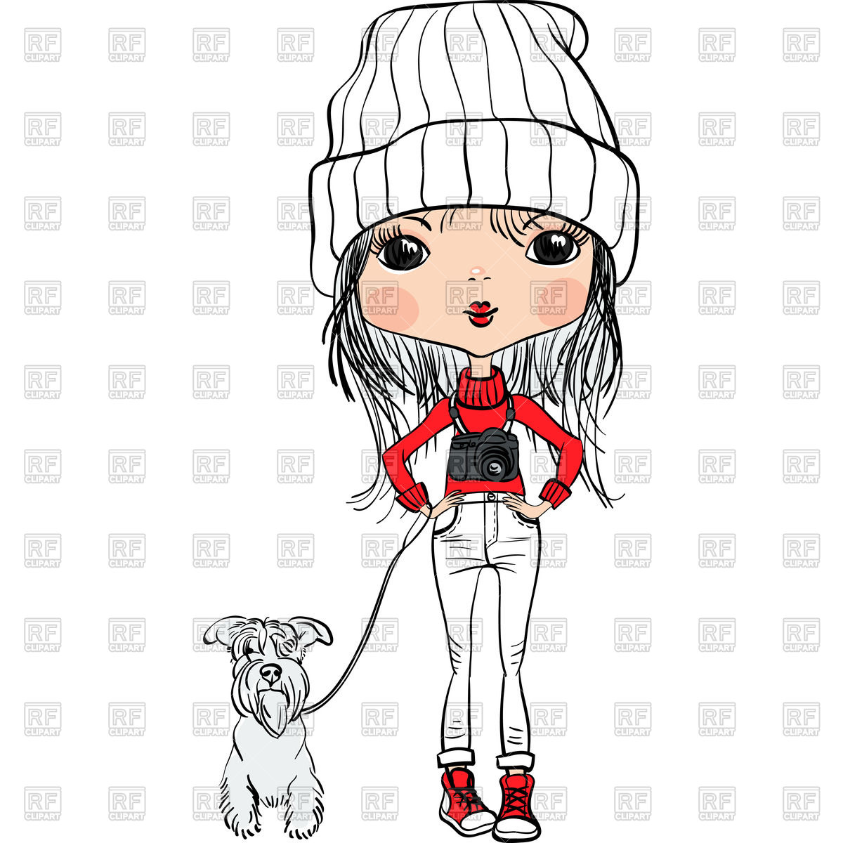 Cute cartoon hipster fashion girl in a hat with dog and camera.
