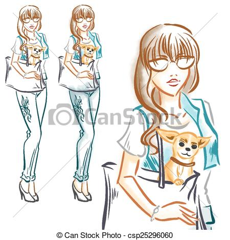 Clip Art Vector of Fashion girl with little dog chihuahua.