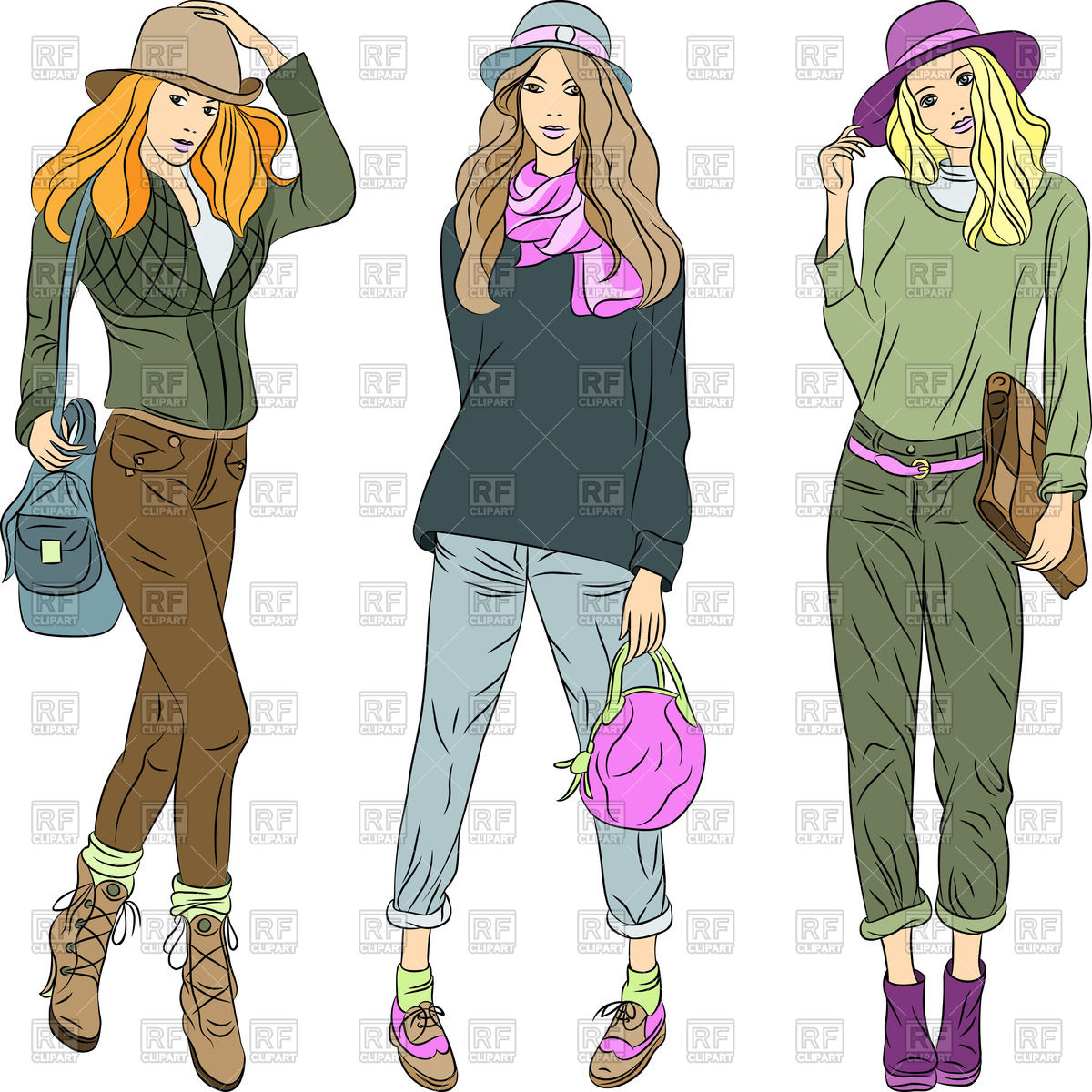 Cartoon beautiful fashion girls.