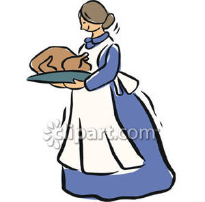 fashioned Woman Carrying Thanksgiving Turkey.