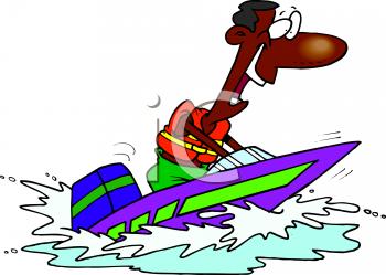 Summer Cartoon of an African American Man in a Speedboat.
