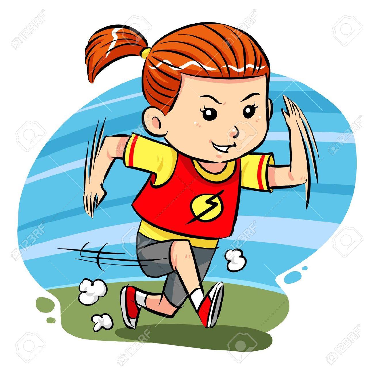 Girl running fast clipart.