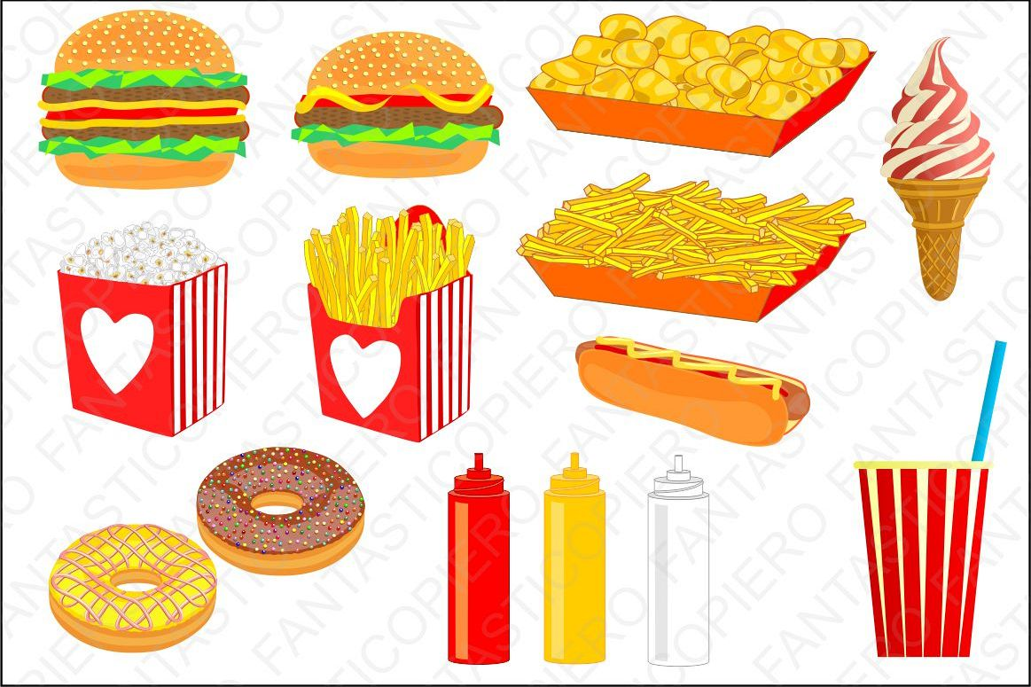 Fast food cclipart hamburger chips popcorn nuts hot dog ice cream cola  clipart JPG files and PNG files, transparent background..