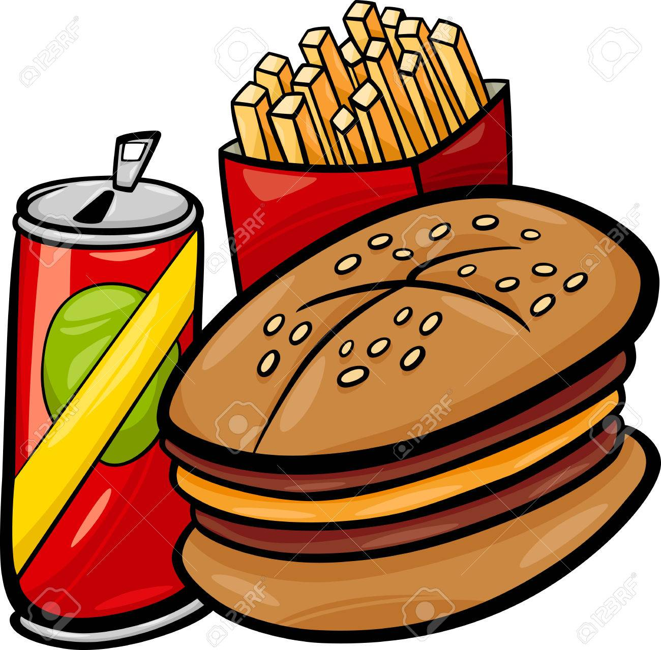 Cartoon Illustration of Fast Food Set with Hamburger and French...