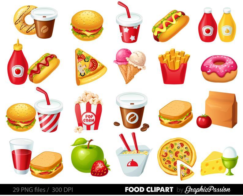 Fast Food Clipart Hamburger Clip art Coffee clip art Food Vector graphic  Food clip art Hotdog clipart popcorn clip art ice cream clipart FF.