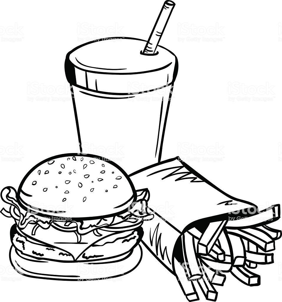 Vector Black And White Fast Food Illustration Stock Illustration.
