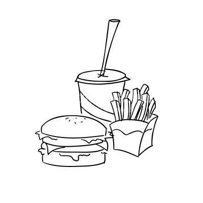 Fast Food Lineart Vector Clipart.