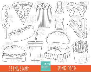 junk food clipart, fast food clipart, HAMBURGER, HOT DOG, BLACK AND WHITE.
