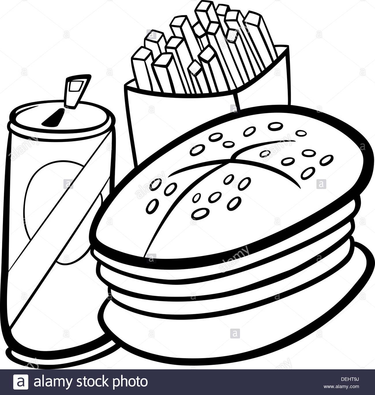 Black and White Cartoon Illustration of Fast Food Set with Hamburger.