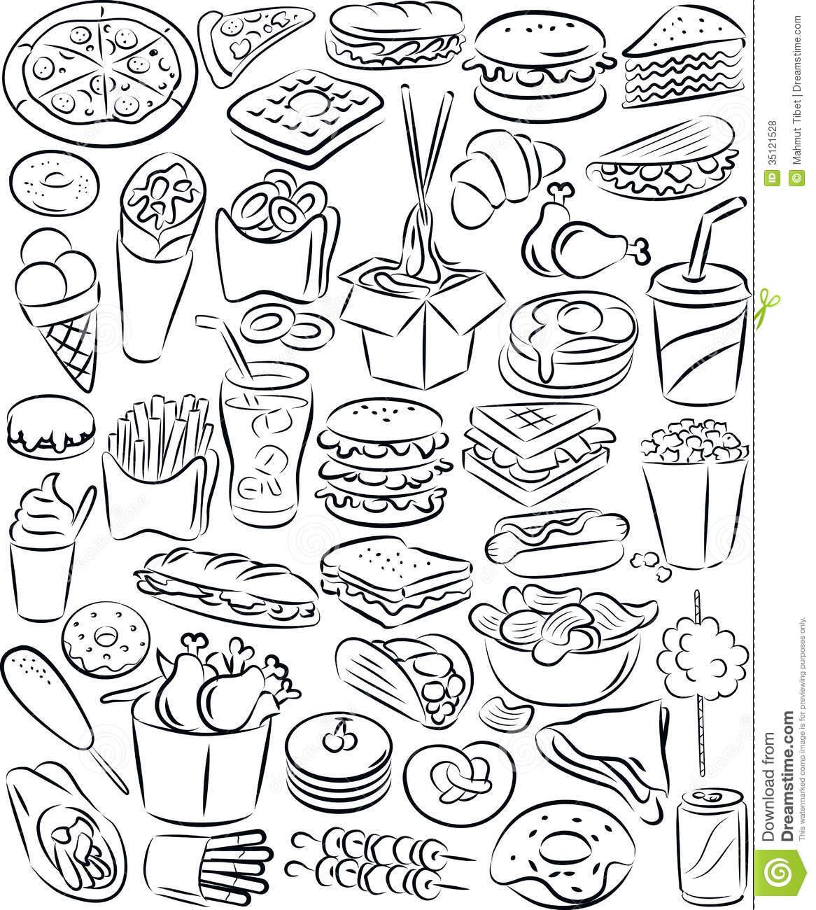 Fast food set stock vector. Illustration of pretzel, food.