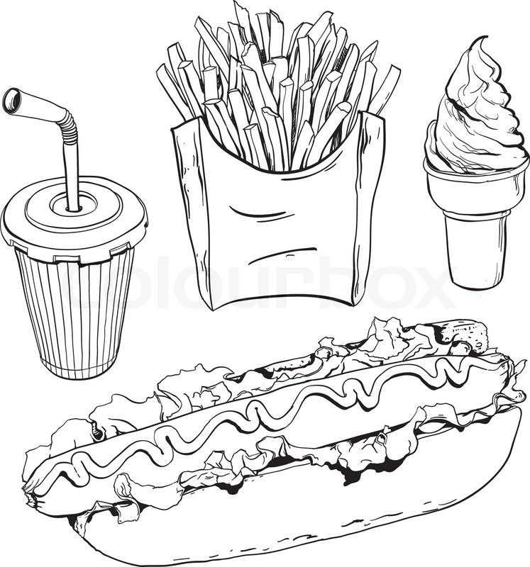 Junk food clipart black and white 5 » Clipart Station.